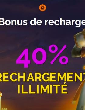 Bonus de 40 % de recharge offerts sur Monte Cryptos